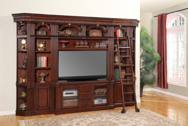 "Parker House Wellington 60"" Entertainment TV Wall Unit in Chestnut Finish"
