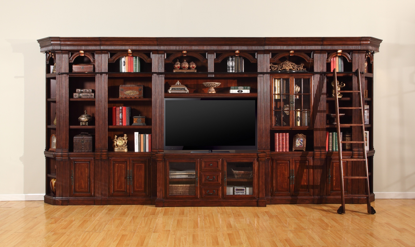Wellington Large Library With 60 Quot Entertainment Tv Wall Unit In Chestnut