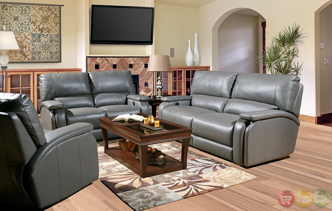 Parker living grisham gray top grain leather reclining for Gray leather sofa set