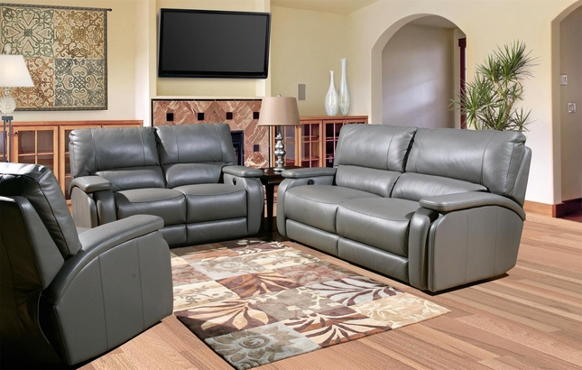 Parker Living Grisham Gray Top-Grain Leather Power Reclining Sofa Set