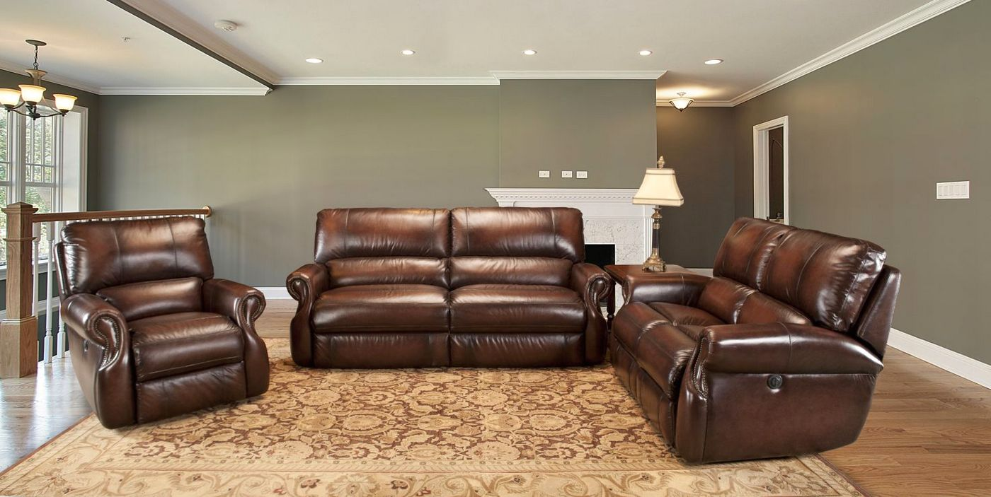 parker living hawthorne brown leather reclining sofa set mhaw 832p br. Black Bedroom Furniture Sets. Home Design Ideas