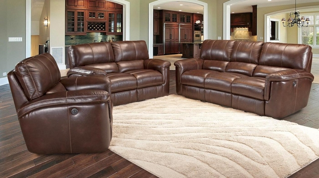 Parker Living Hitchcock Cigar Brown Leather Power Reclining Sofa Set MHIT#832P-CI