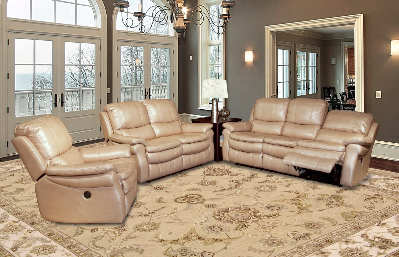 Parker living juno sand leather reclining sofa set mjun for Sand leather sofa