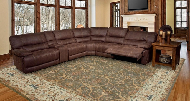 Parker Living Pegasus Brown Faux Leather Sectional Sofa Set MPEG-PACKA-DK