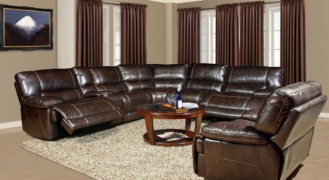 Parker Living Pegasus Brown Faux Leather Modular Power Reclining Sectional Sofa