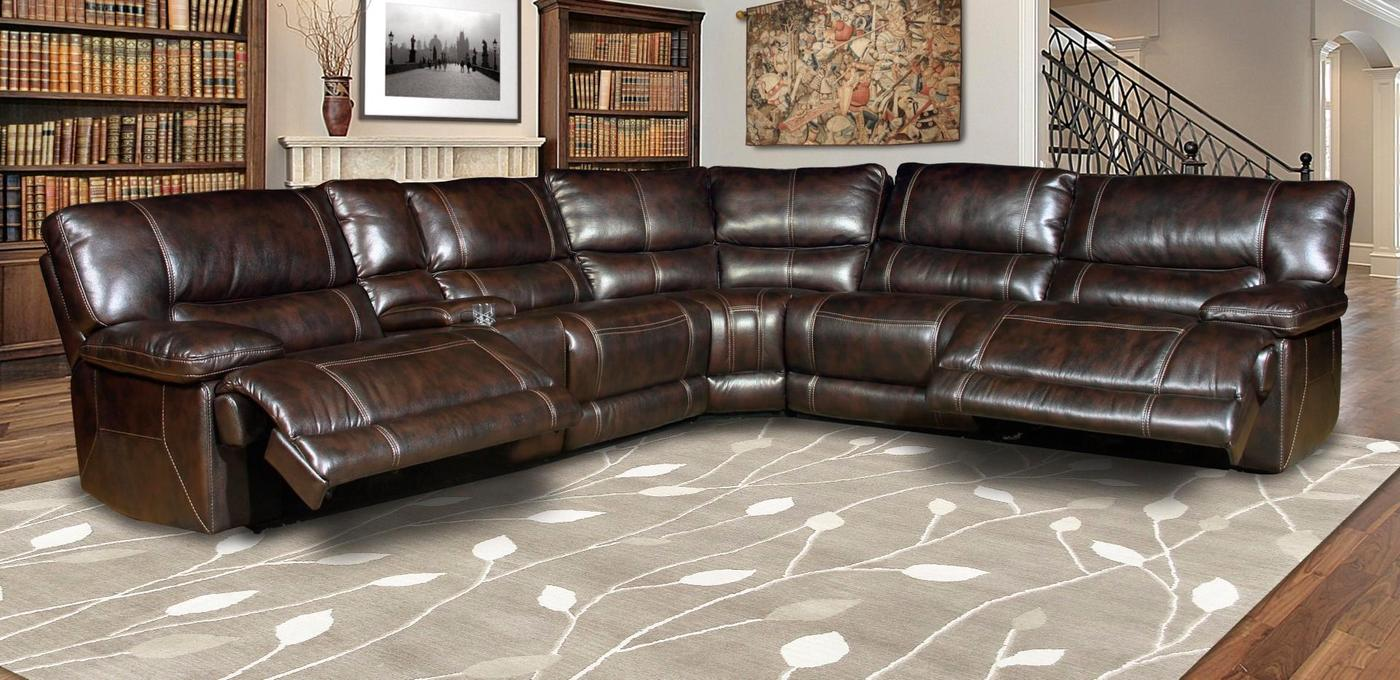 Details about Parker Living Pegasus Dark Brown Faux Leather Power Reclining  Sectional Sofa