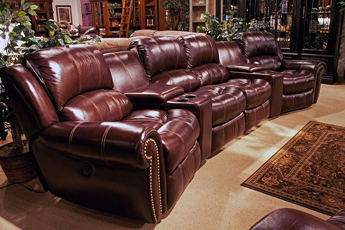 Parker living poseidon cocoa brown leather theater style for Traditional sectional