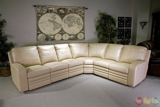 Parker Living Steinbeck Cream Top Grain Leather Sectional Sofa Set
