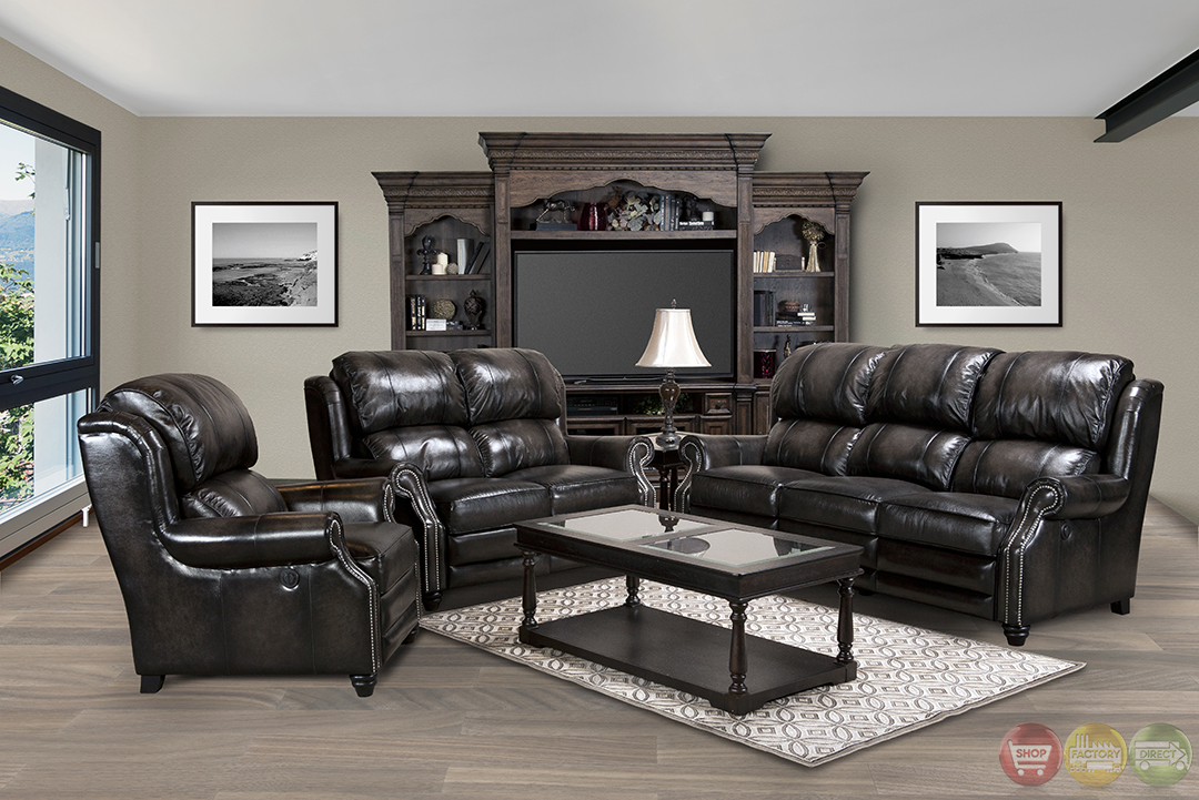 Parker Living Twain Black Top Grain Leather Reclining Sofa Set Mtwa 832p Sm