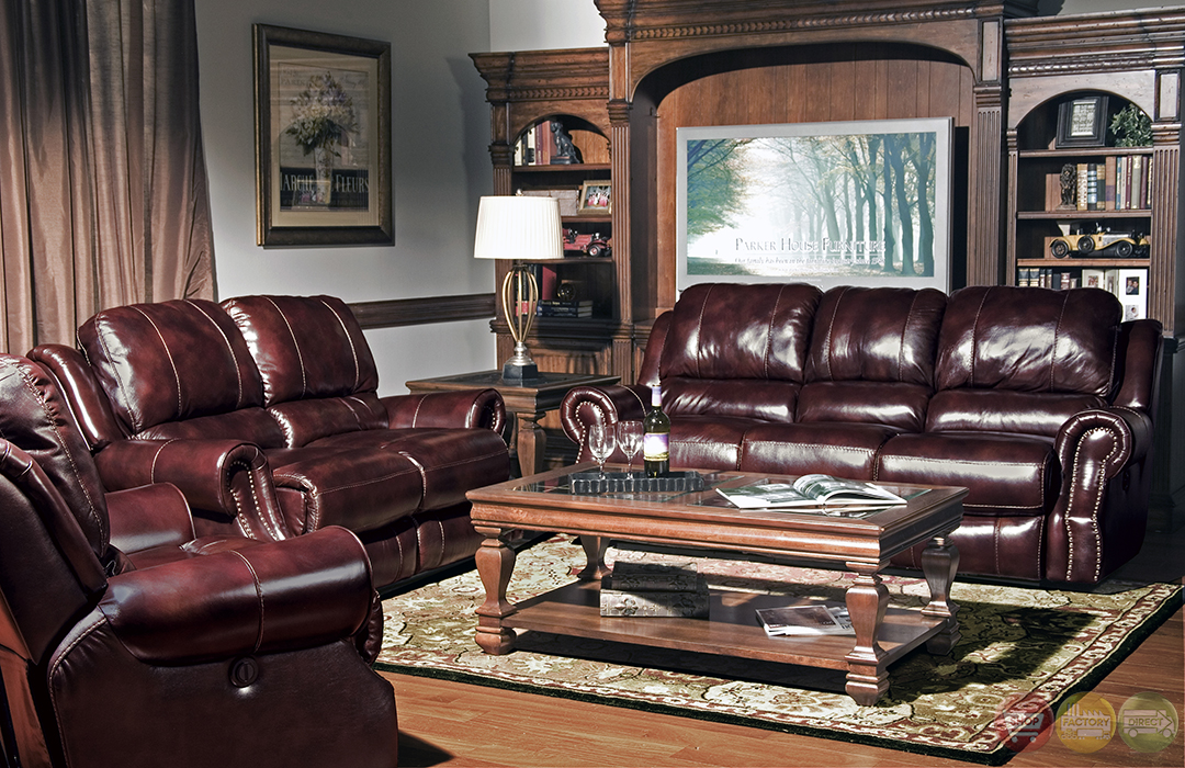 Parker Living Zeus Merlot Leather Power Reclining Sofa Set