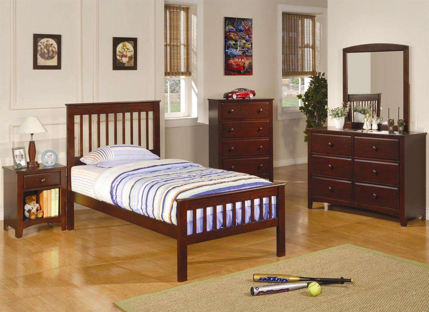 Parker mission style brown cherry finish twin bedroom set for Mission style bedroom furniture