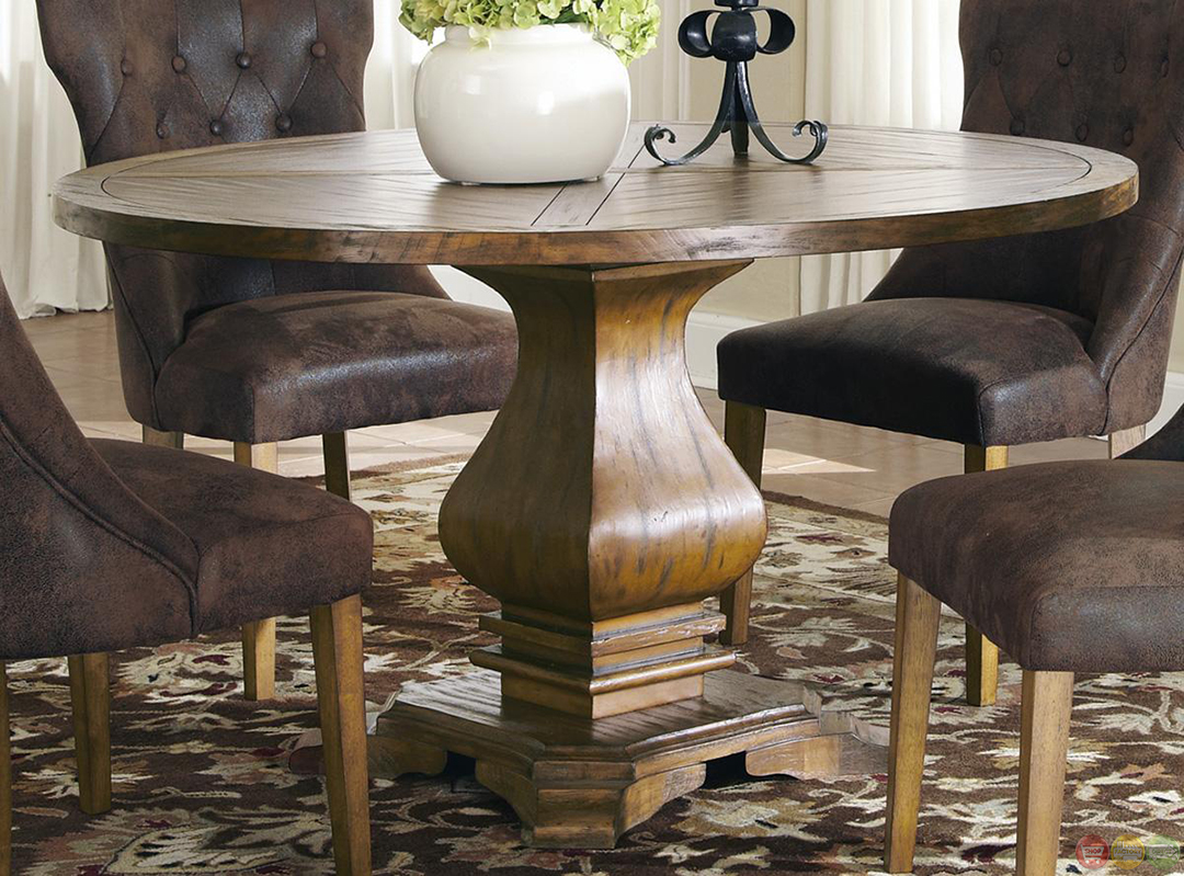 Parkins round pedestal table dining room set for Round dining room table sets