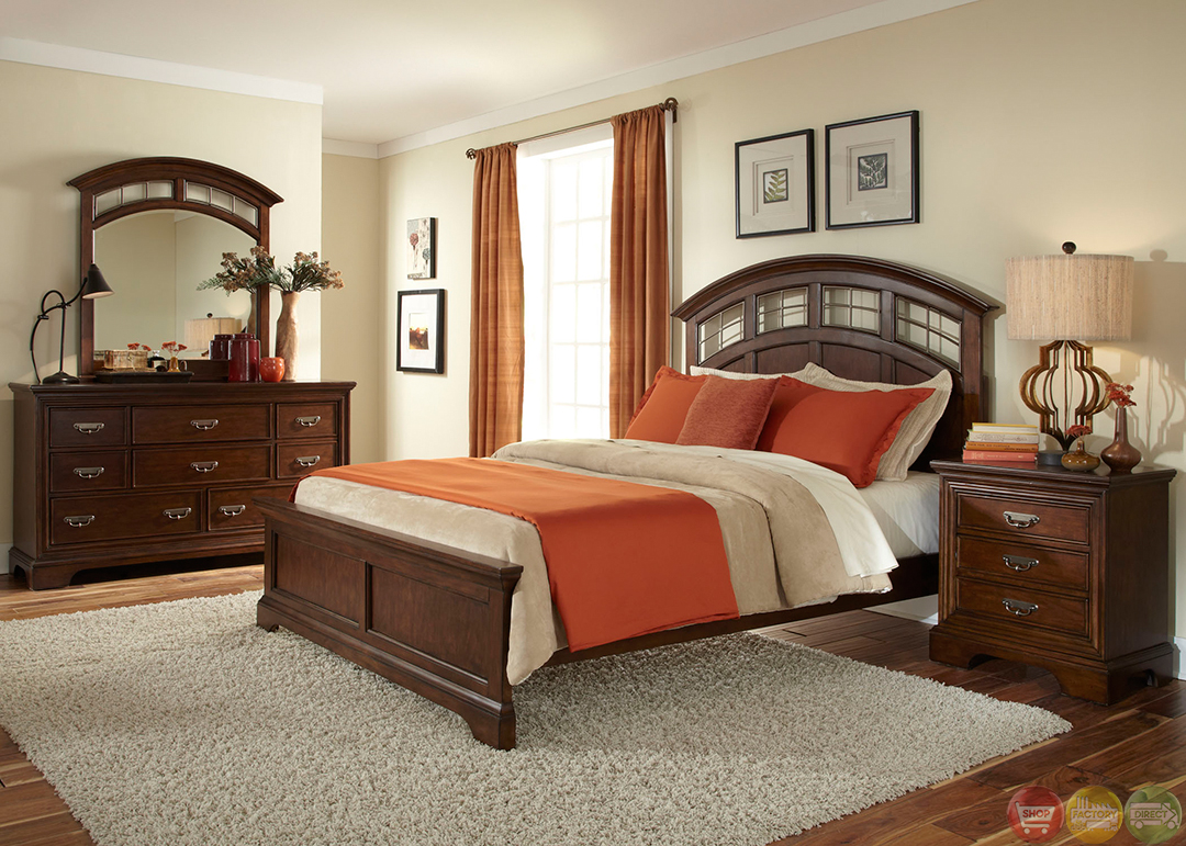 Parkwood transitional cognac panel bedroom set for Transitional bedroom furniture