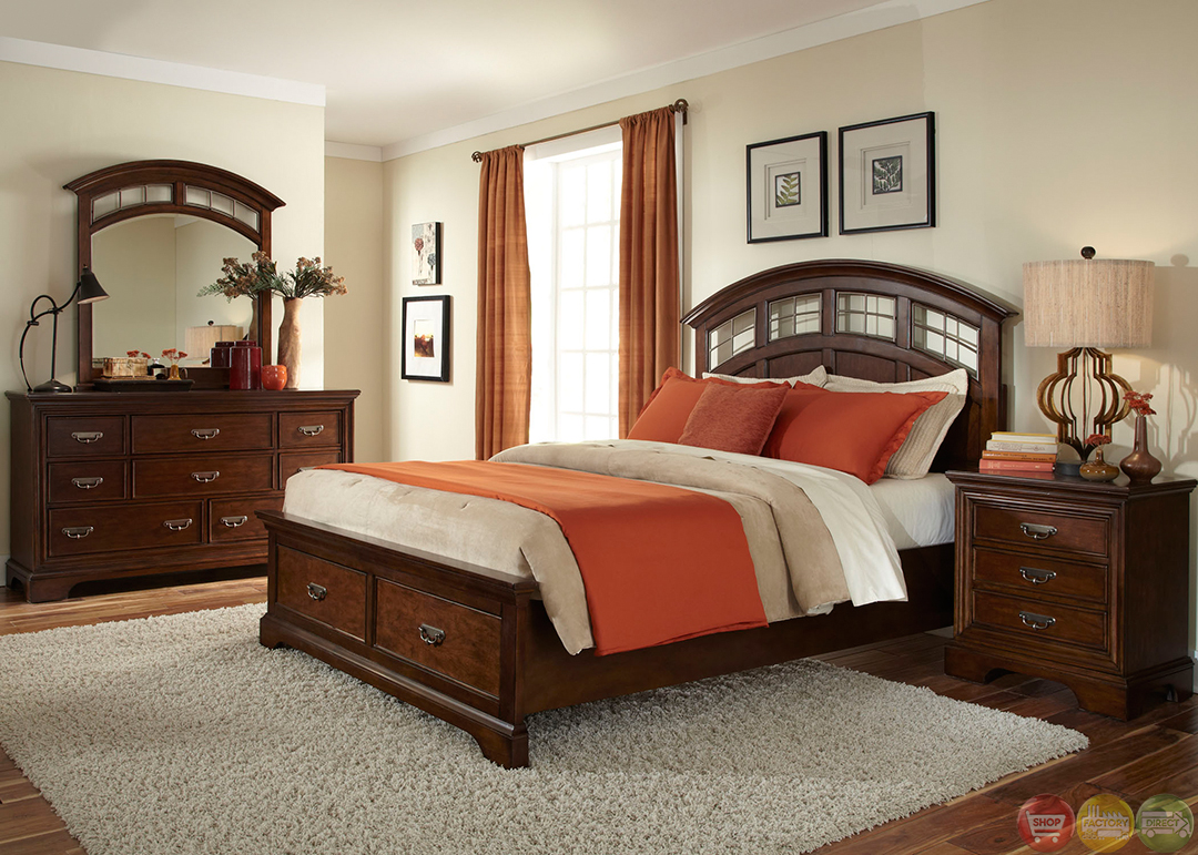 transitional bedroom furniture parkwood transitional cognac finish storage bedroom set 13584