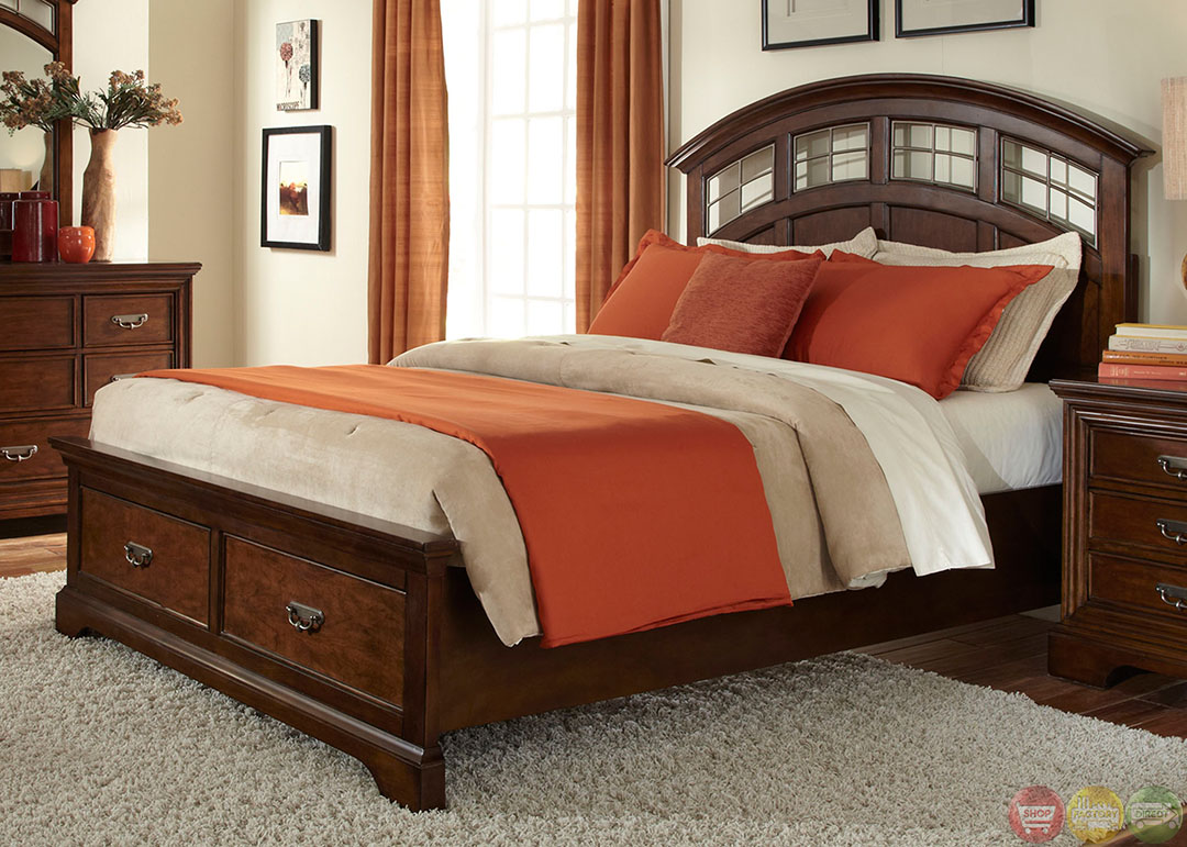 Parkwood transitional cognac finish storage bedroom set for Transitional bedroom furniture