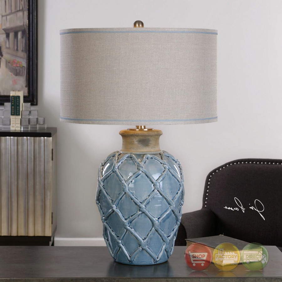 Parterre Coastal Style Pale Blue Ceramic Table Lamp With