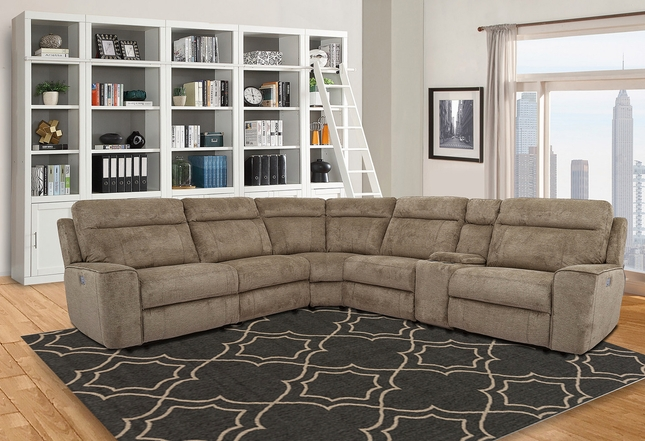 Parthenon Heather Transitional Powered Modular Sectional Sofa w/ Power Headrest