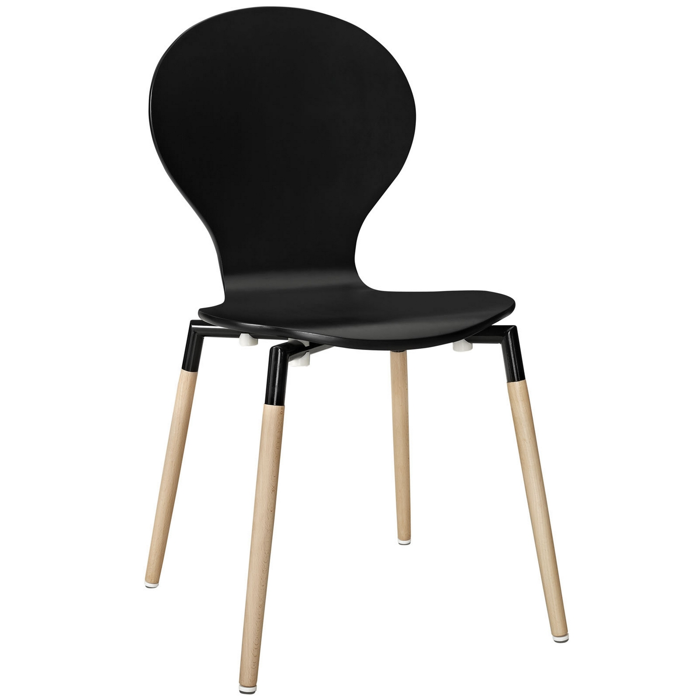 Path Stylish Contemporary Wood Dining Side Chair, Black