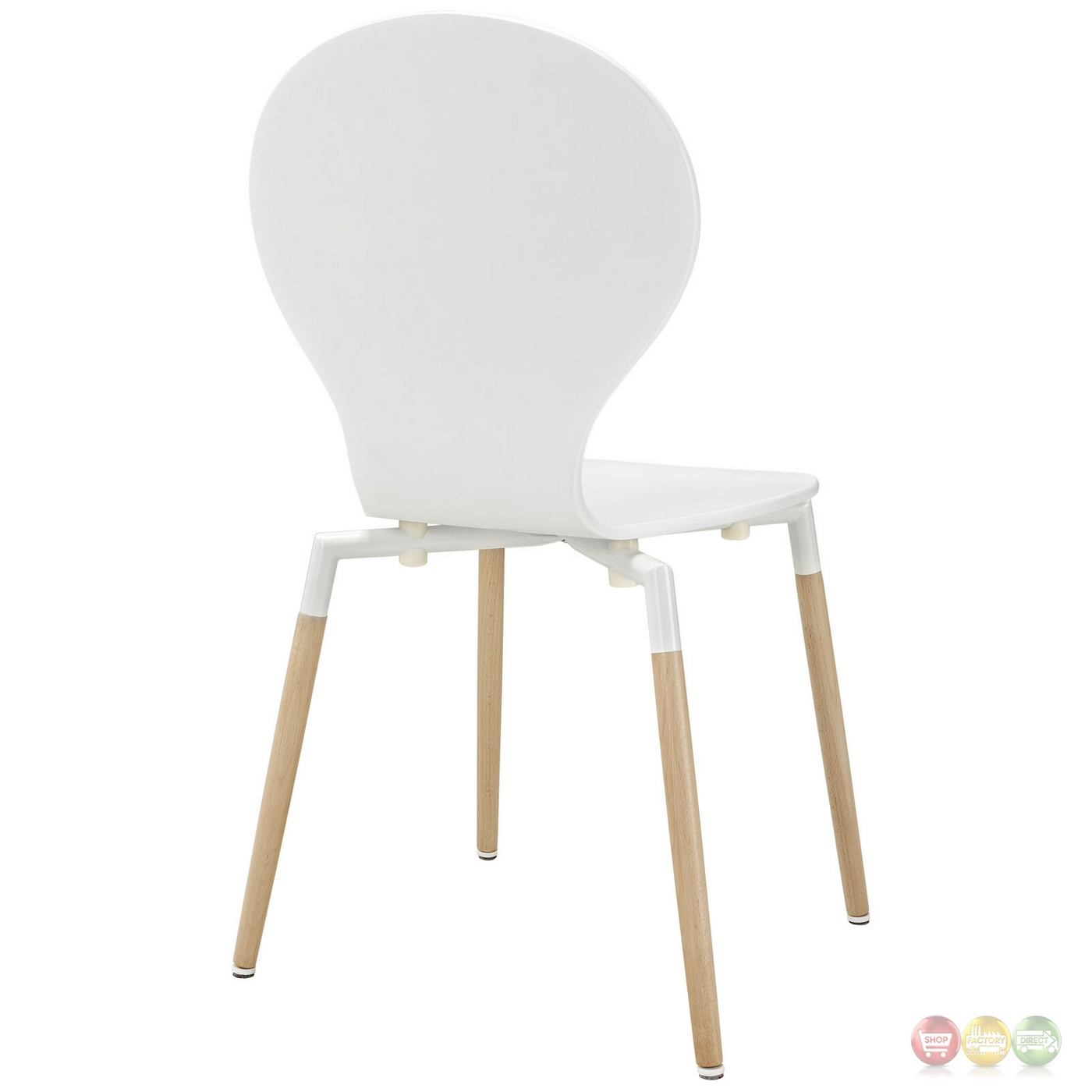 Path stylish contemporary wood dining side chair white for Contemporary white dining chairs