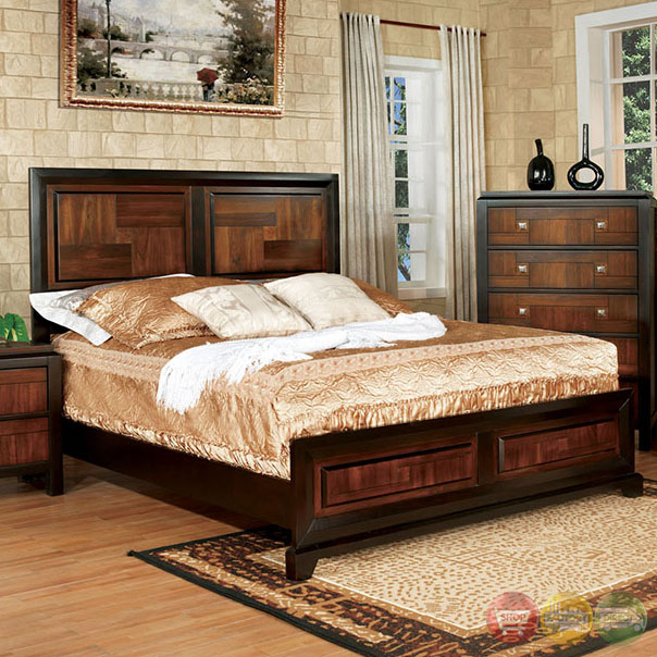Square Bedroom Furniture ~ Patra acacia and walnut panel bedroom set with square