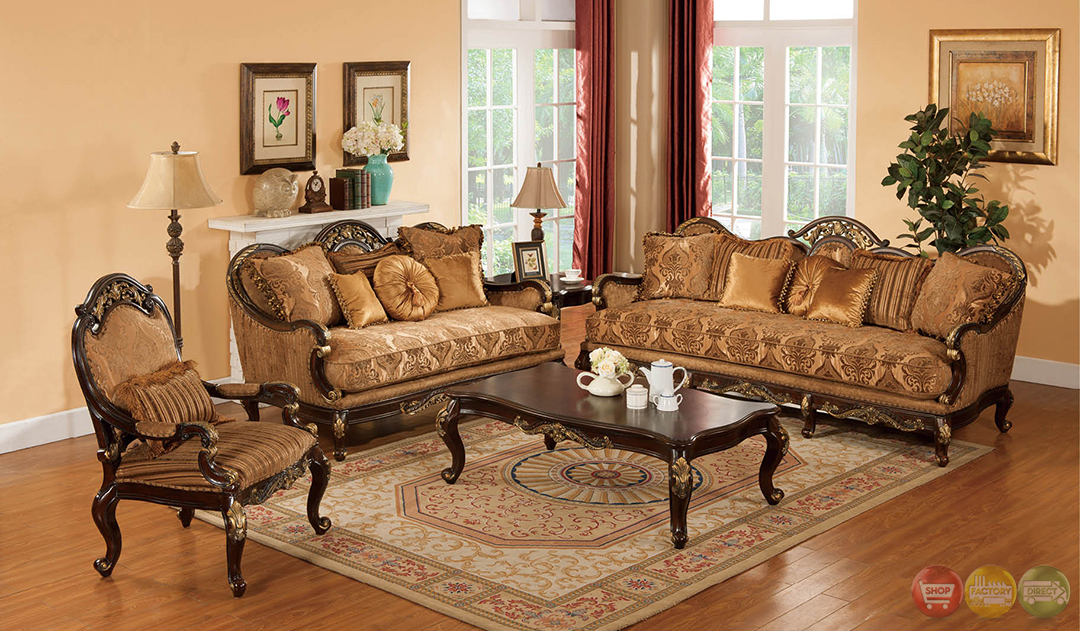 Patricia traditional dark wood formal living room sets for Traditional living room furniture