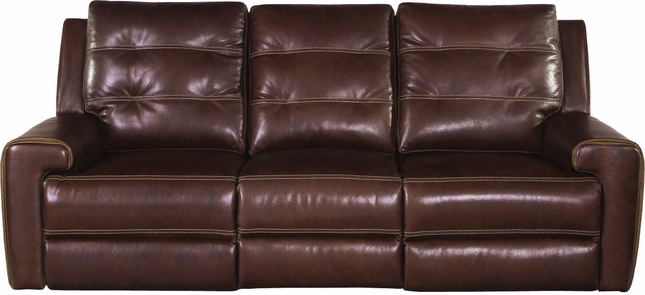 Patterson Clydesdale Leather Power Dual Reclining Sofa With USB Charging  Port