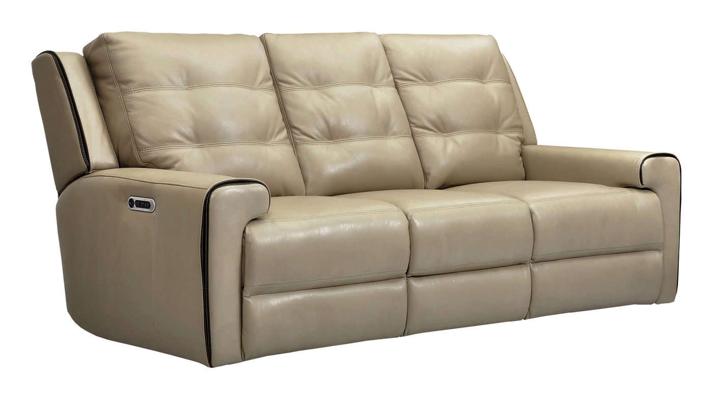 Patterson Vanilla Leather Power Dual Reclining Sofa With