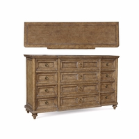 Pavilion 12-Drawer Radiata Pine Dresser In Coastal Barley Finish