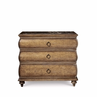 Pavilion 3-Drawer Coastal Pine Accent Chest With Marble Top