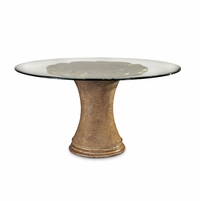 "Pavilion 54"" Glass Topped Round Rattan Coastal Dining Table"