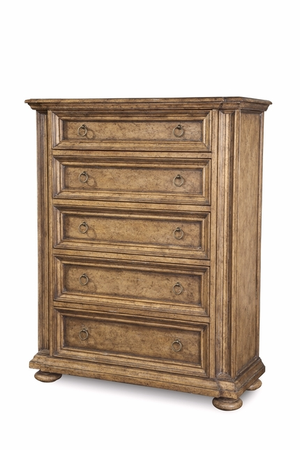 Pavilion Coastal Breakfront 5-Drawer Chest with Barley Finish