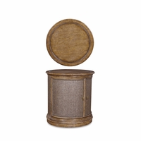 Pavilion Coastal Pine Drum Accent Table With Reclaimed Finish