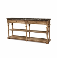 Pavilion Marble Console Table in Coastal Barely Finished Pine