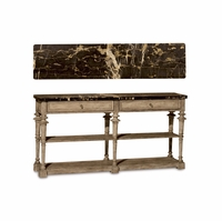 Pavilion Marble Console Table in Coastal Gypsum Finished Pine