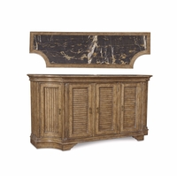 Pavilion Marble Topped Coastal Shutter Door Buffet in Barley Finish