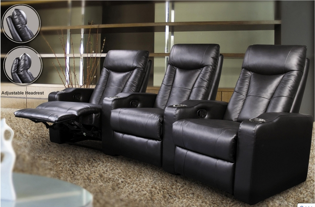 Pavillion Home Theater Seating Black Leather 3 Chairs