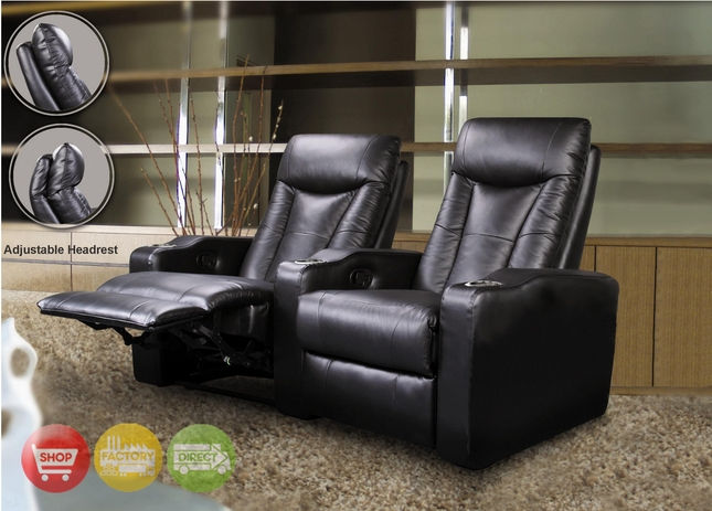 Pavillion Home Theater Seating Black Leather Row of 2 Chairs