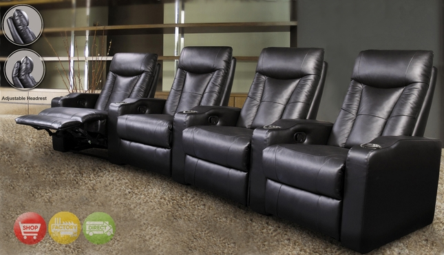 Pavillion Home Theater Seating Black Leather Row of 4 Seats