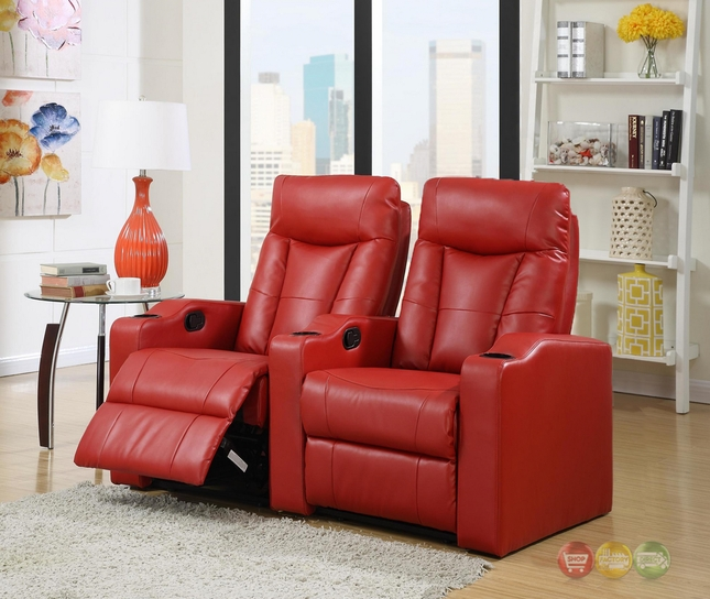 pavillion home theater seating red leather row of 2 chairs