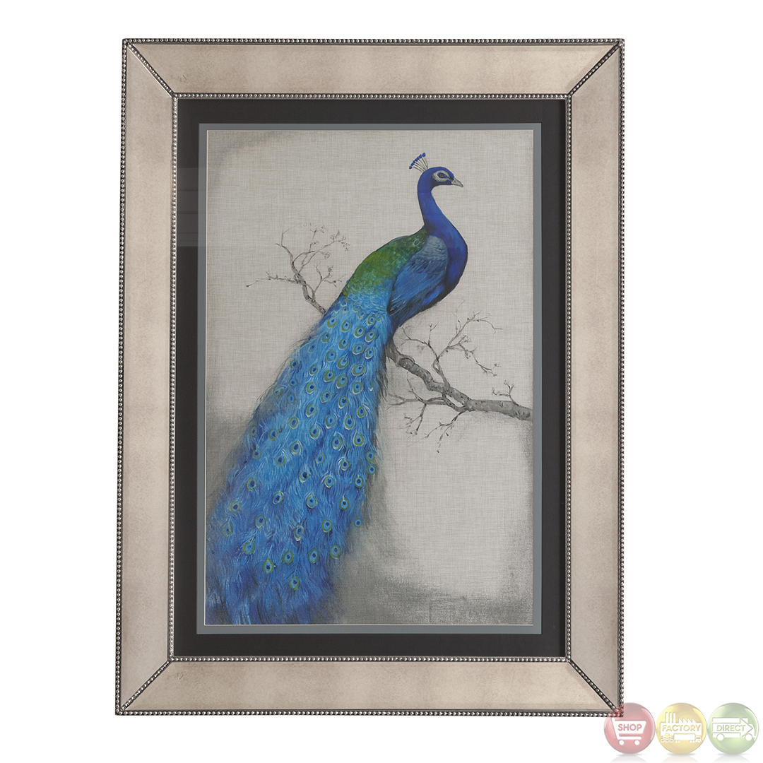 Peacock blue i traditional framed art 9900 177aec for Peacock wall art