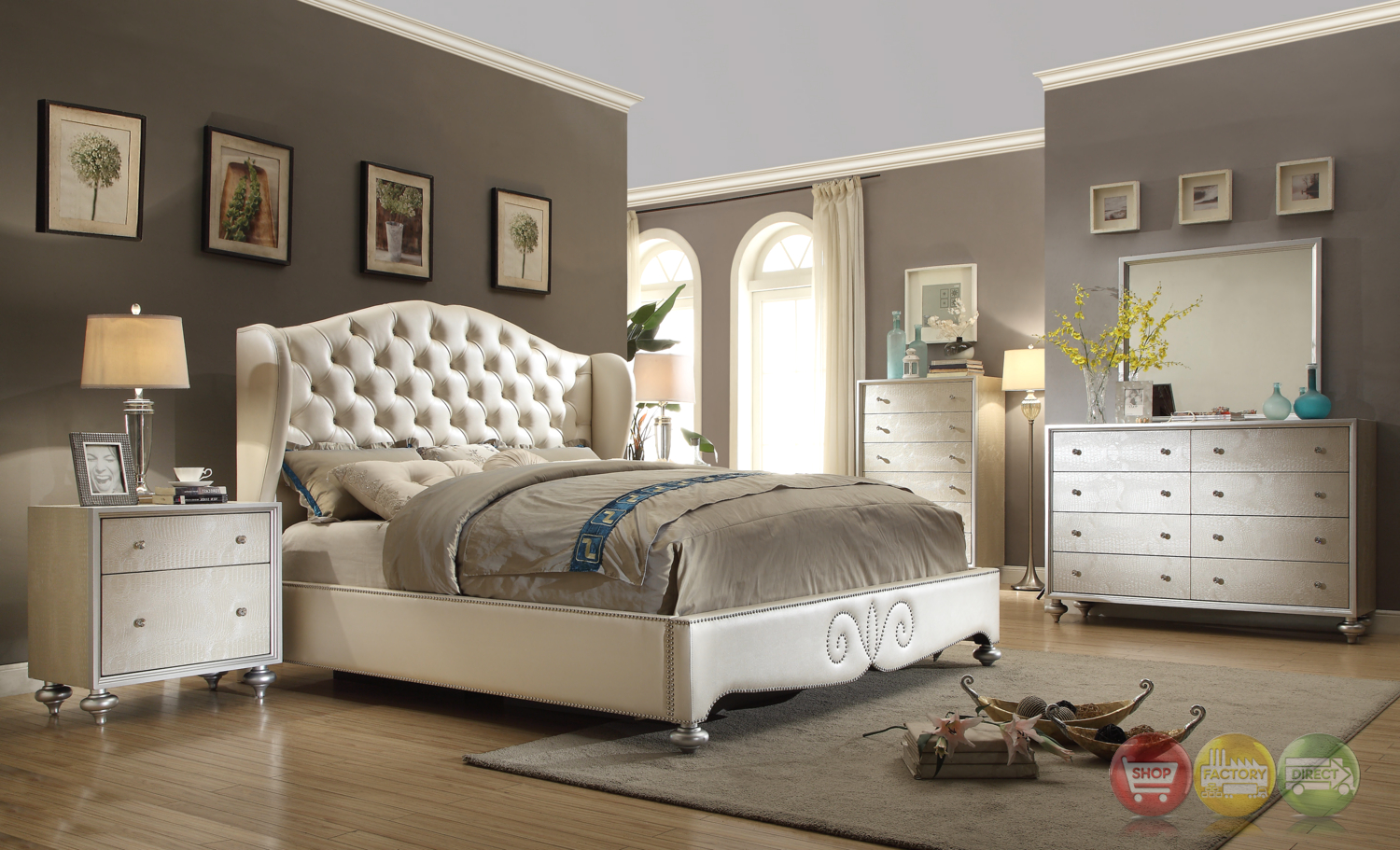 Glamorous pearl white button tufted wing back bed faux for Bed and bedroom furniture sets