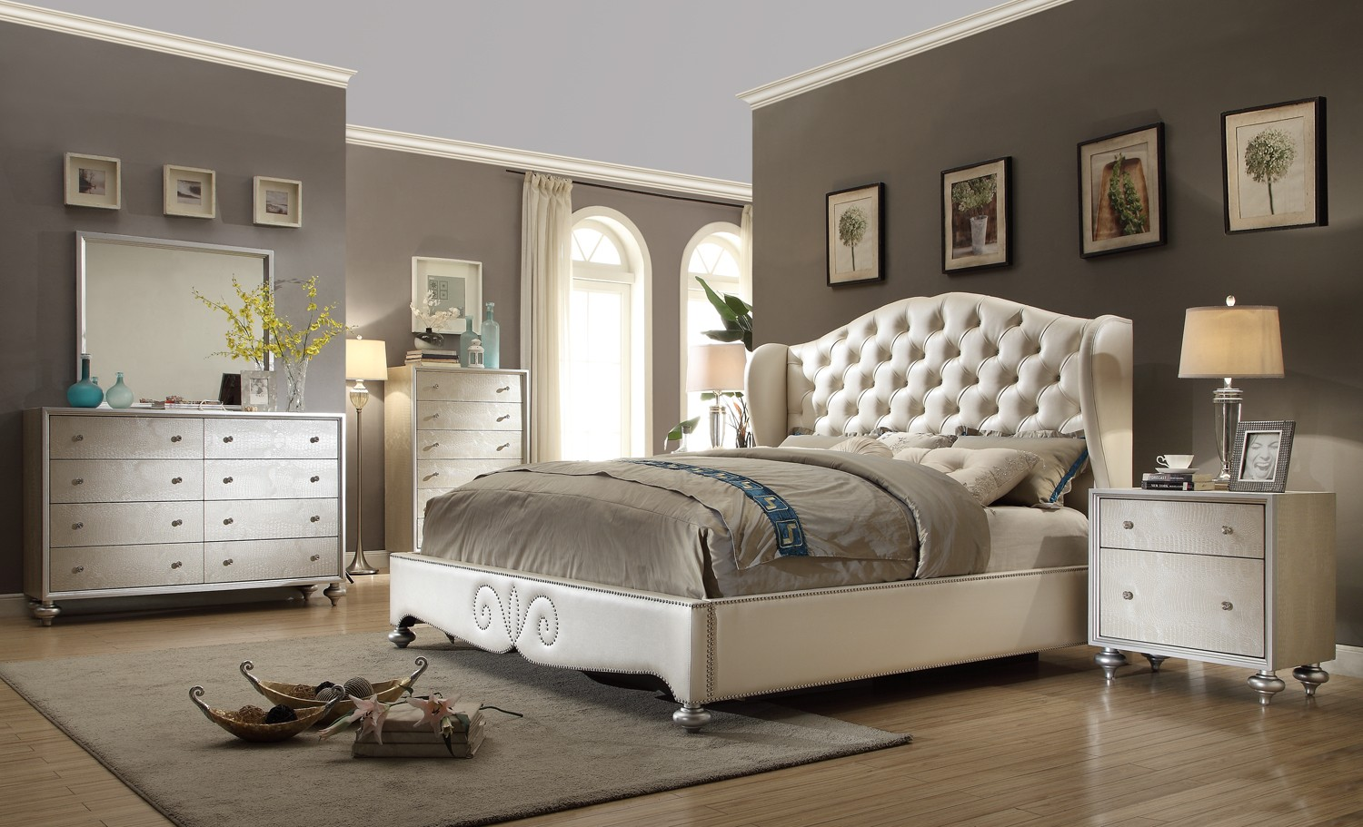 Tufted wingback bed button tufted upholstered bed for White dresser set bedroom furniture