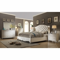 Pearl White Tufted Wing Back Bed Faux Croc Bedroom Furniture Set