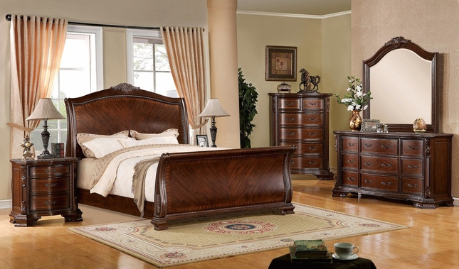Perfect Penbroke Luxurious Baroque Brown Cherry Sleigh Bedroom Set Ornate Accents
