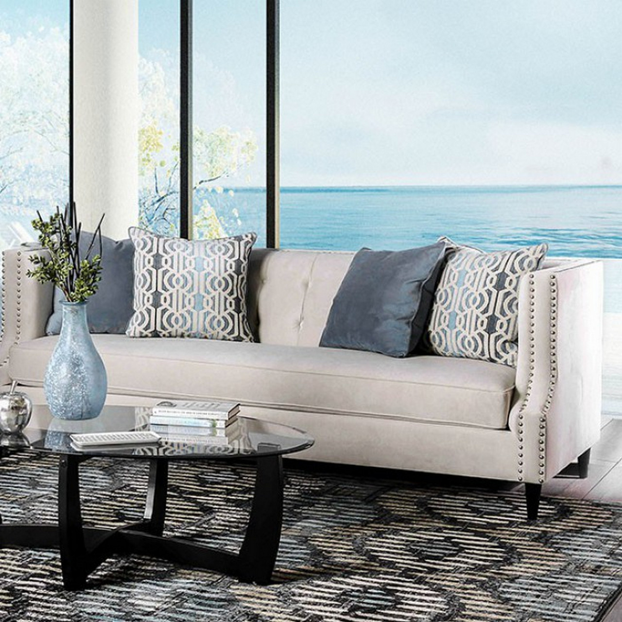 Penelope Transitional Beige Fabric Square Back Sofa With