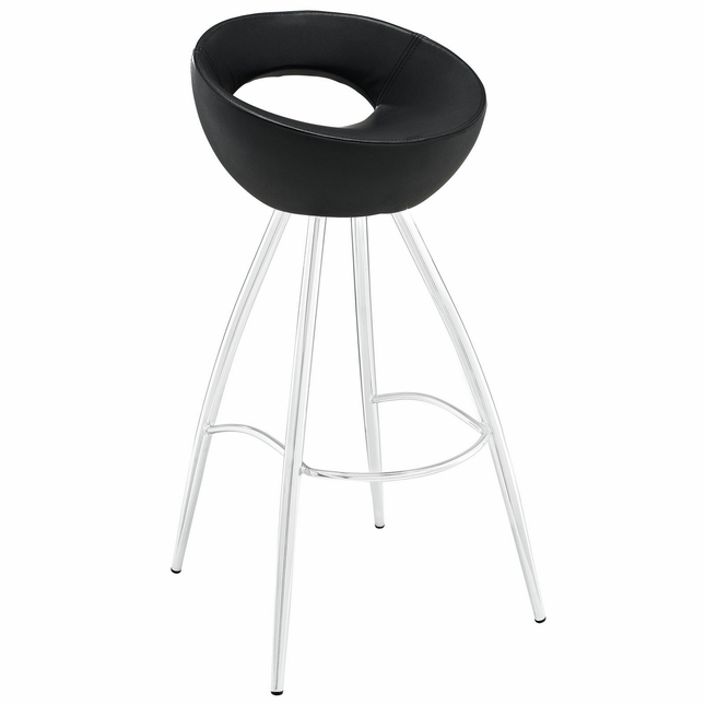 Persist Modern Tubular Vinyl Bar Stool w/ Stainless Steel Base, Black