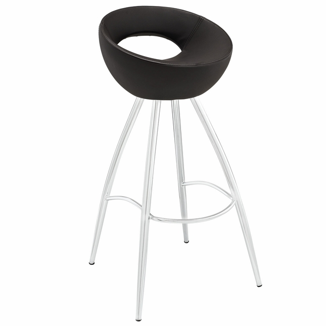 Persist Modern Tubular Vinyl Bar Stool w/ Stainless Steel Base, Brown