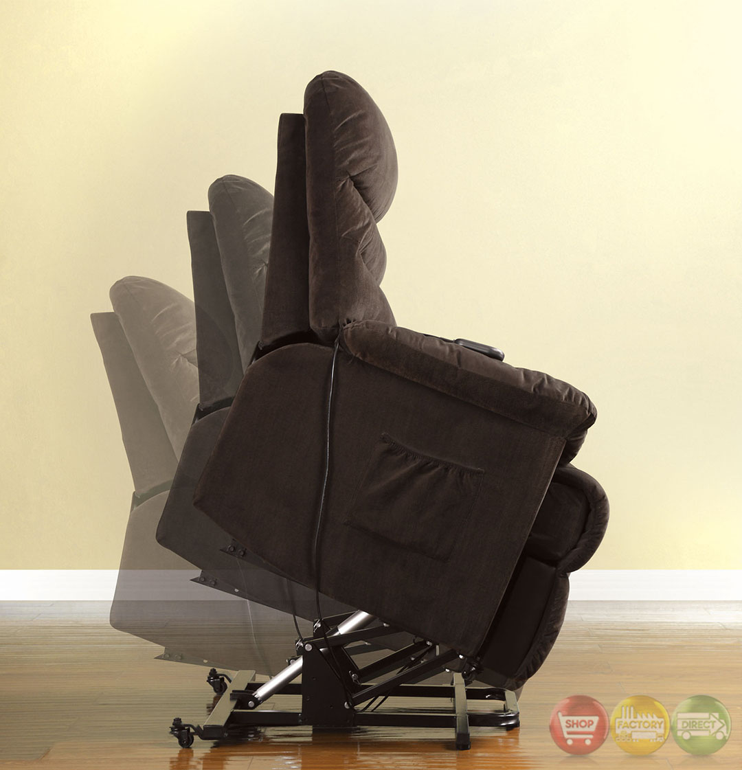 perth cocoa brown recliner chair with stand