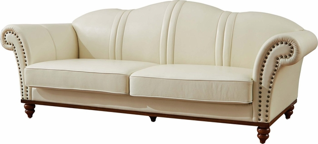Pesaro Transitional Ivory Leather Match Camelback Sofa with ...