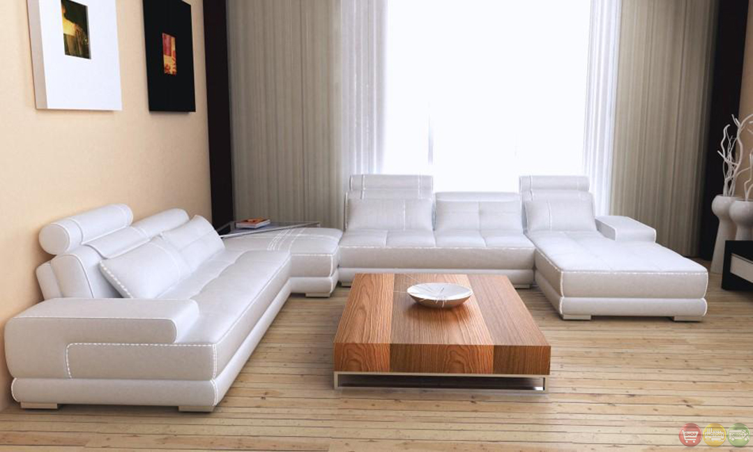 Phantom Modern Gray Amp White Leather Sectional Sofa